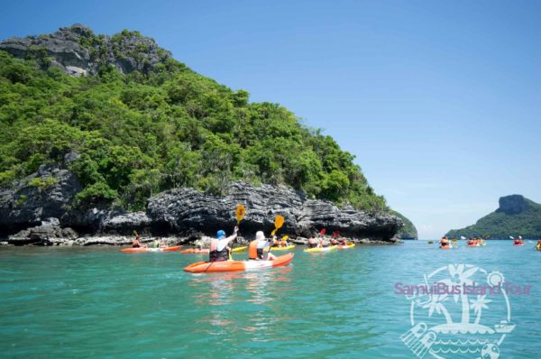 The kayaking experience starts at Koh Mae Ko, halfway Angthong Marine Park. Our guide will lead the way as you paddle along the white sandy beach.